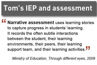 Tom's IEP and assessment. Narrative assessment is